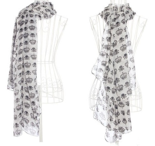 2013 HOT Skull Crown Chiffon Scarf for Ladies