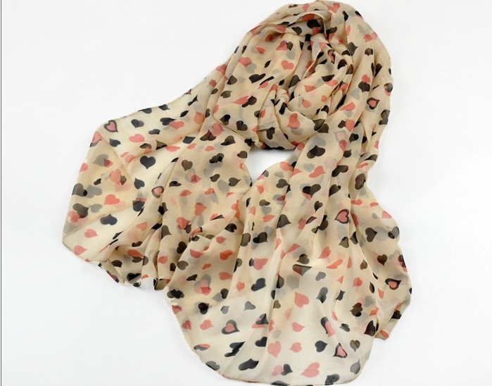Peach heart print fashion chiffon scarf wholesale