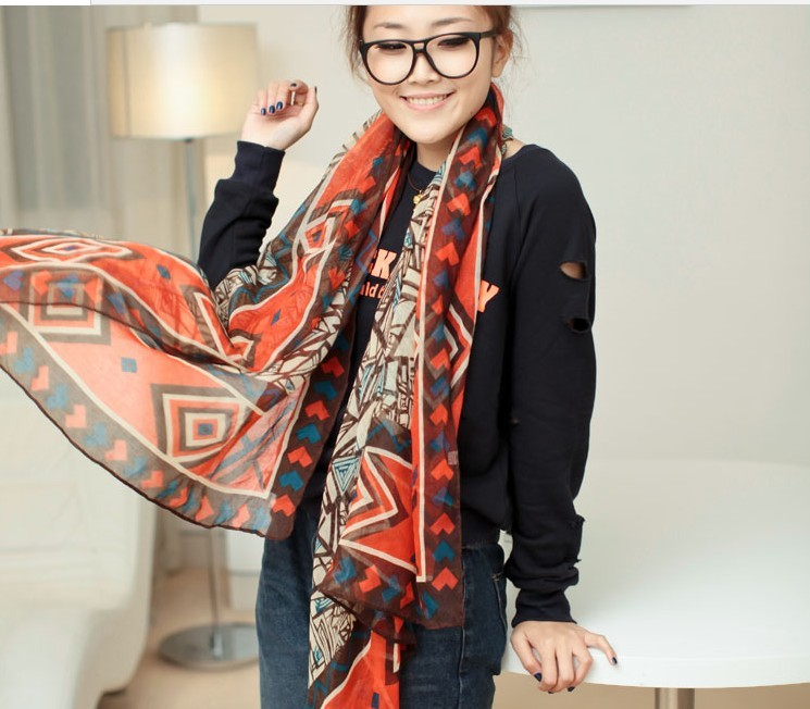 2013 New Women's British fashion Design georgette silk scarf