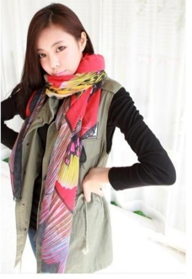2013 chiffon butterfly printing scarf wholesale