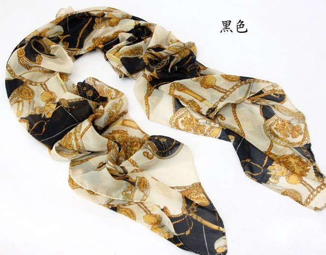 2013 NEW Style Carriage and Chain Long Chiffon Scarf