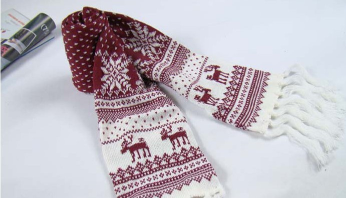 2013 Nations style snow and deer scarf with tassel christmas thi
