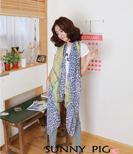2013 European style sexy leopard and chain printing chiffon silk