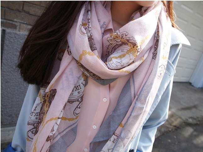 2013 Long Women shawl with Fashion chain and clocks printing for