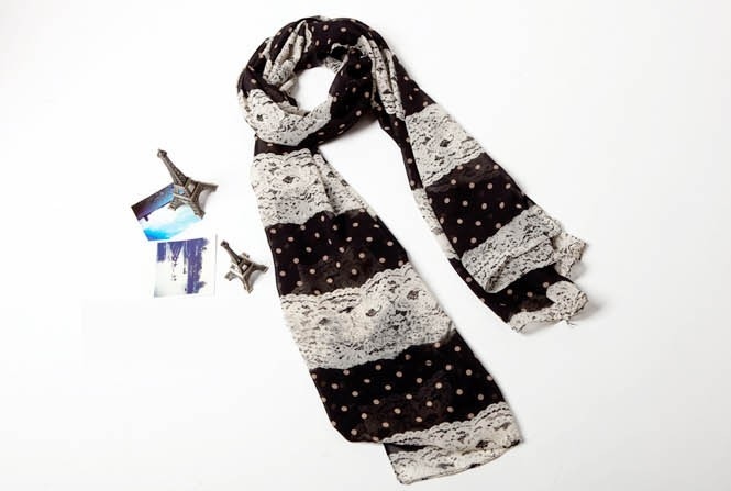 2013 Fashion Sexy Chiffon Dots Lace Women Scarves Wholesale