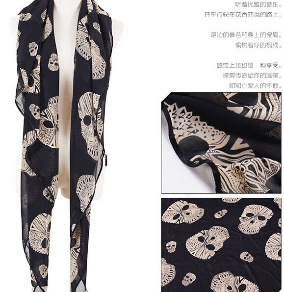 Fashion Viscose Scarf with skull pattern
