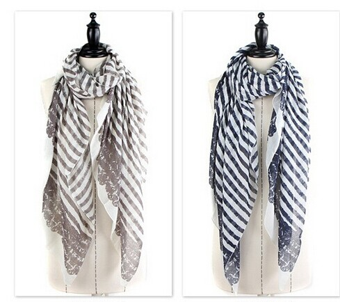 SEO_COMMON_KEYWORDS 01262 Stripes Pattern Viscose Soft Scarf
