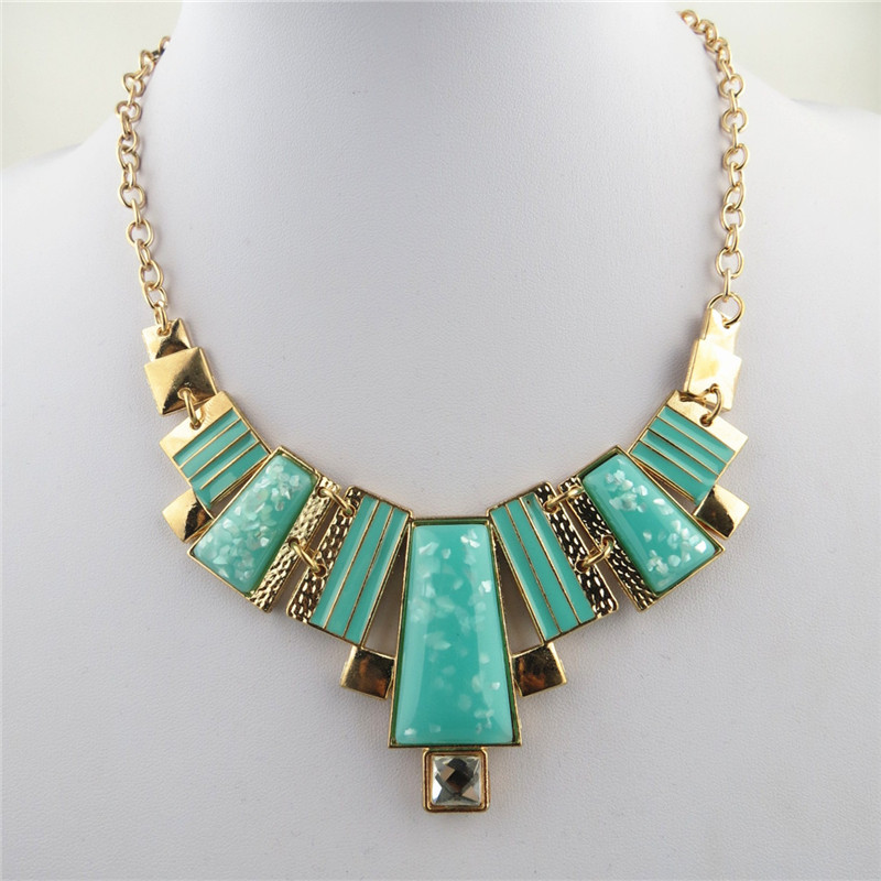Aquamarine Rectangle Charms Bib Necklace