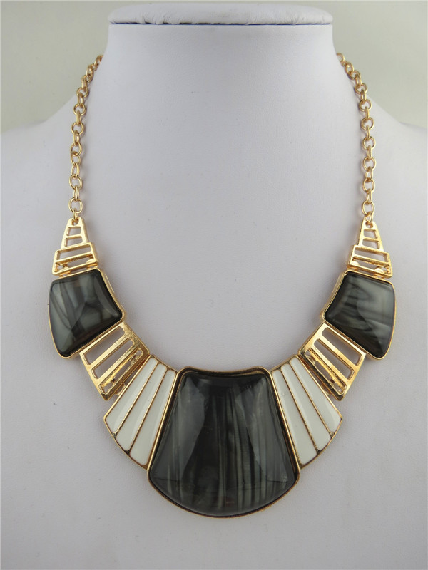 SEO_COMMON_KEYWORDS Elegant Black Sector Rhinestone Pends Necklaces
