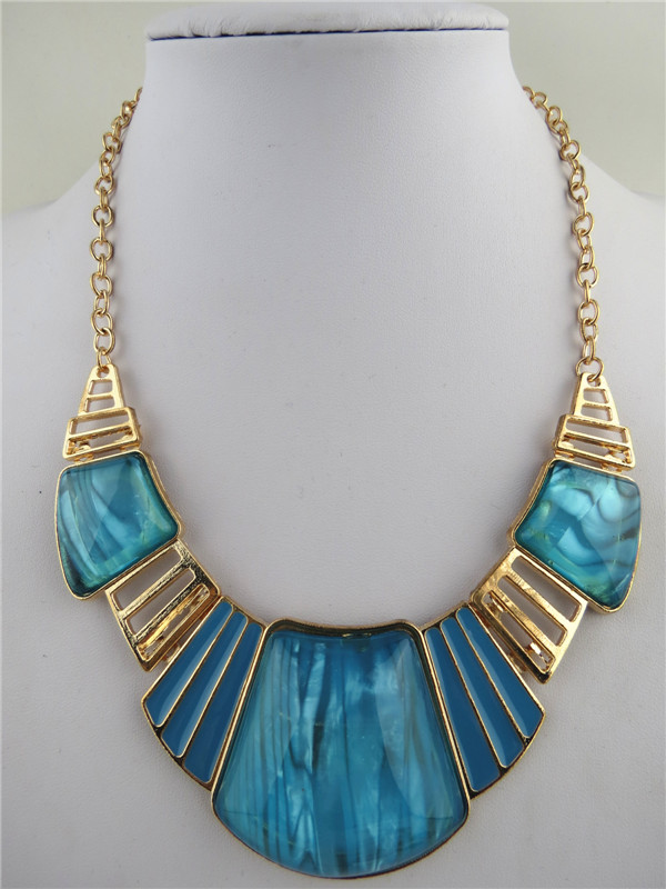 Fashion Design Lapis Pends Chunky Necklaces