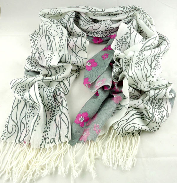 Flower hair scarf cashmere for girls