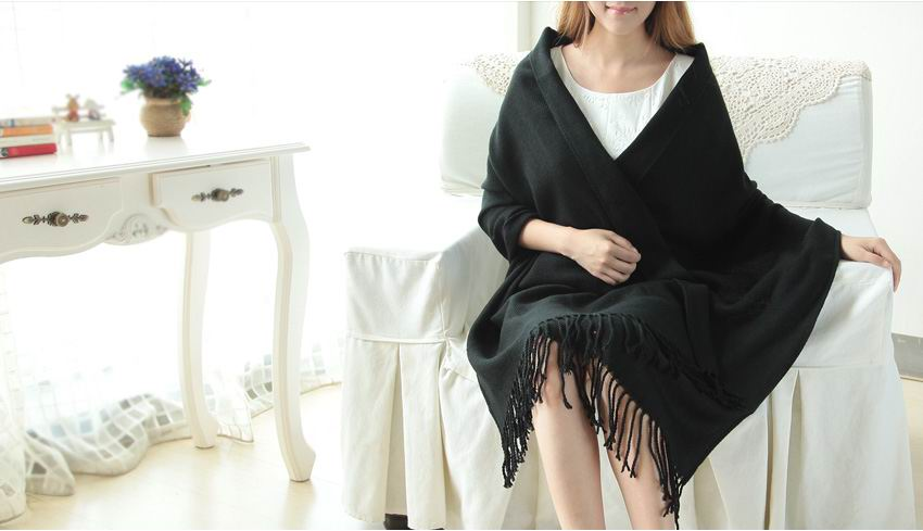 High Quality Solid Color Black Pashmina Scarf Wholesale