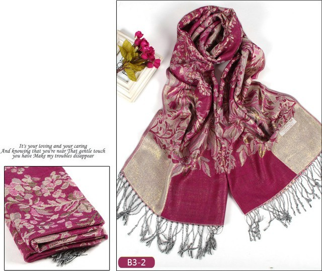 SEO_COMMON_KEYWORDS 2014 HOT Classic Pashmina Purple Woman Tassels Thick Scarf/Shawl