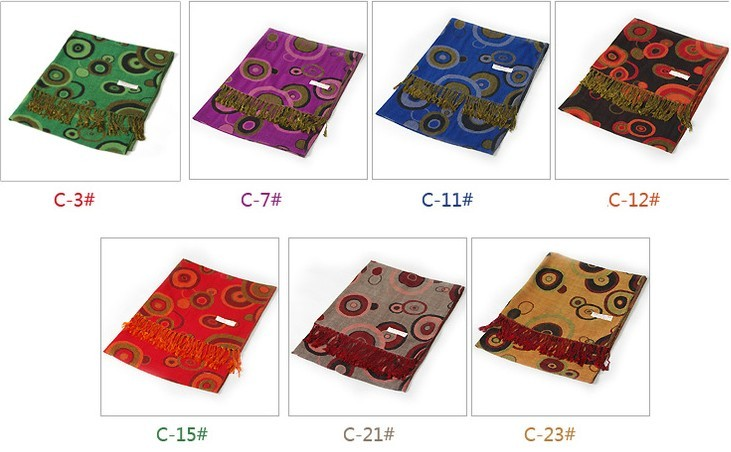 Double-face Women Round Pashmina Silk Shawl/Scarf Wholesale