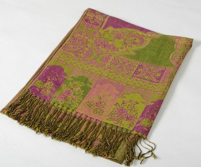 UK Fancy Lady's Silk/Pashmina Shawls Scarf With Flower Design