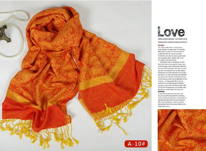 Dark Yellow and Orange Reversible Pashmina Shawl Scarf Wrap Whol