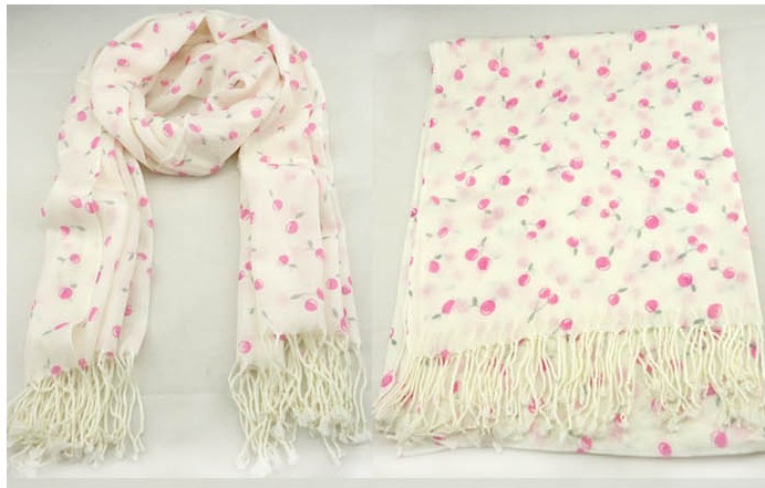 Cherry Design Pashmina Scarf Shawl Wholesale USA