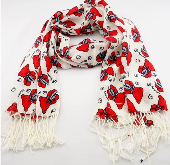 SEO_COMMON_KEYWORDS Red Bear designs Pashmina Scarf 2013 UK