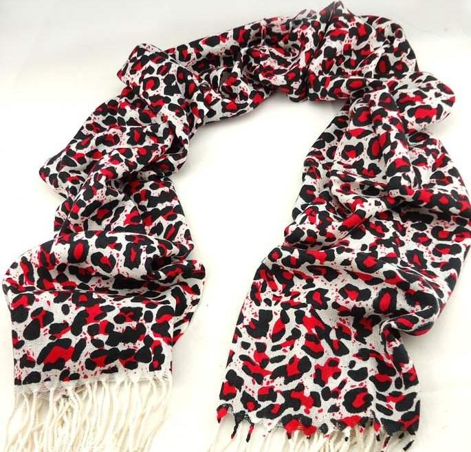 Classic Red Leopard Print Scarf Pashmina Style USA