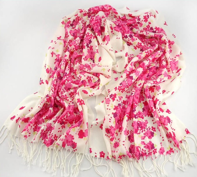 Red Flowers Pashmina Scarf Wholesale USA