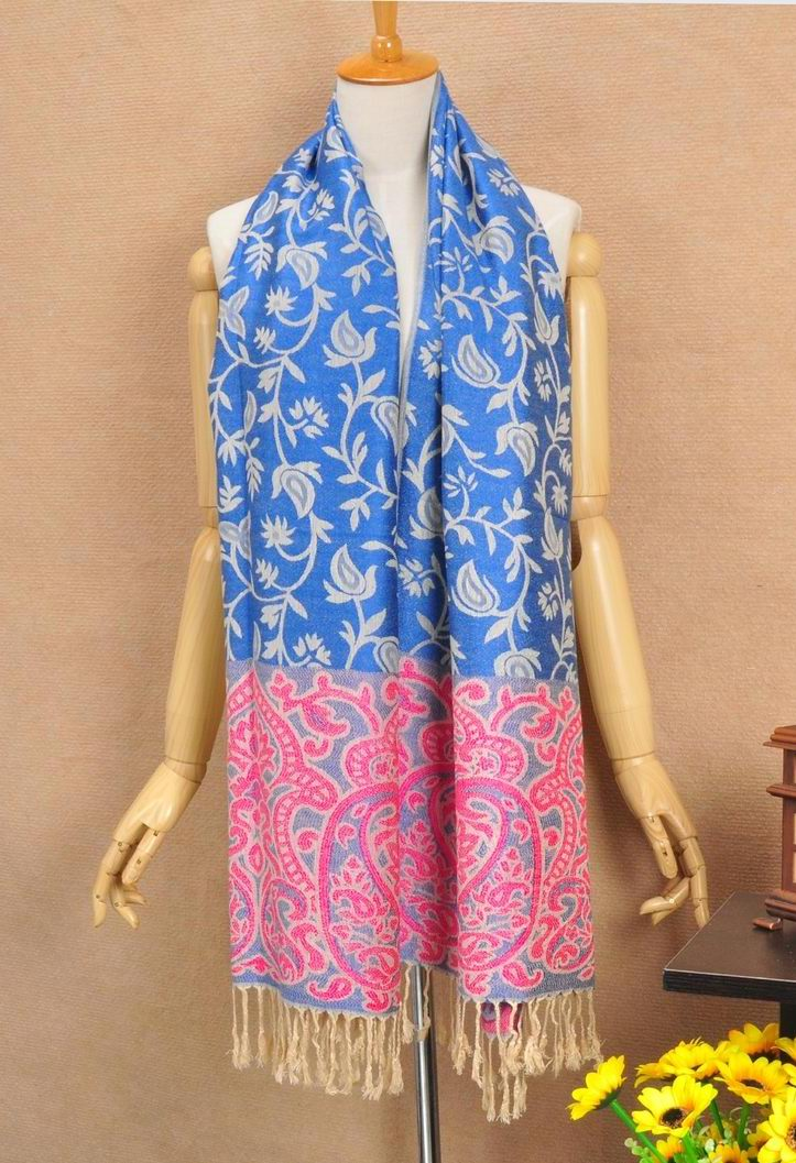 Blue Pashmina Scarf with flora Pattern