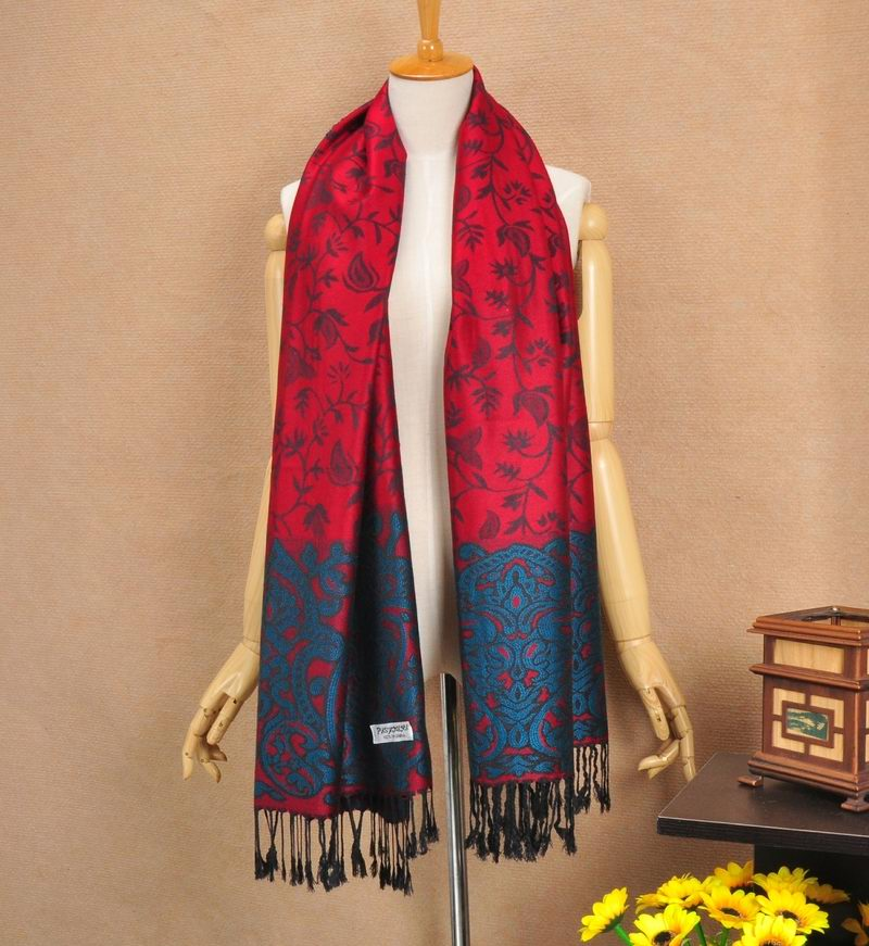 1 Red Pashmina Scarf With Navy Flora Pattern
