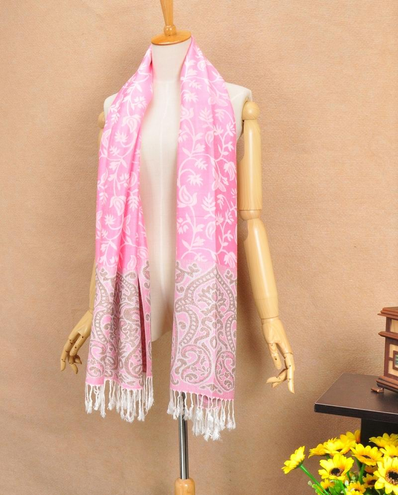 Pink Pashmina Scarf With Flora design