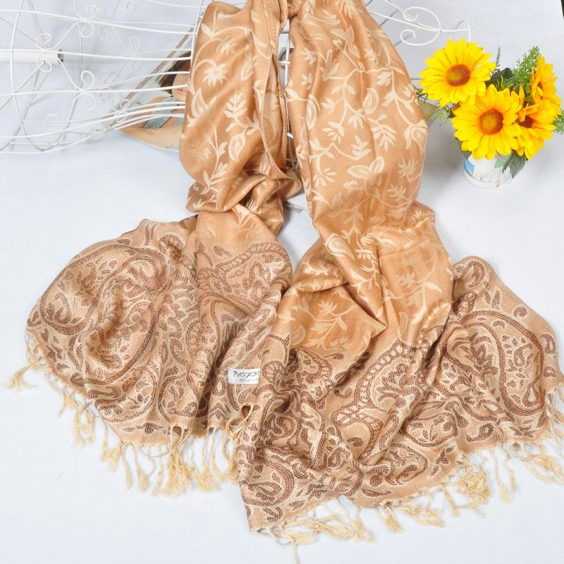 Gold Pashmina Shawl with Flora Designs