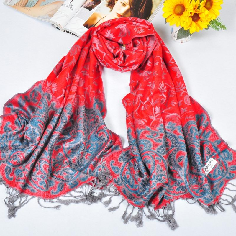 Australia Red Pashmina Shawls with navy flora