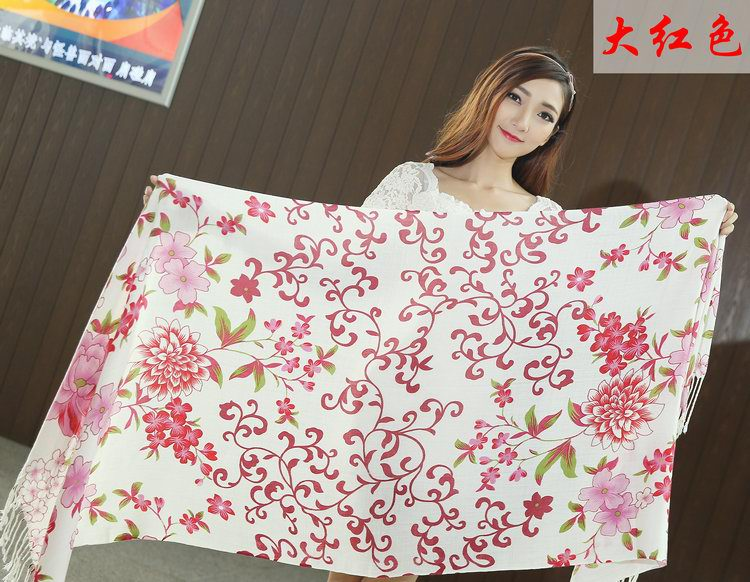 01445 Fashion Flowers Design Pashmina Shawls For Women