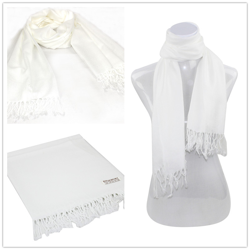 White Pashmina Scarf [Solid Color PASHMINAS 030]