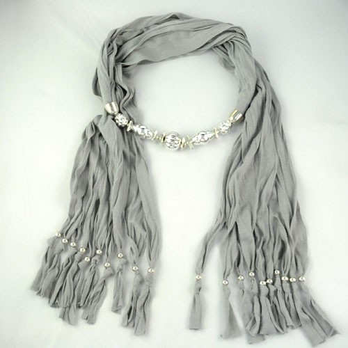 Grey Pendant with silver accessories scarf