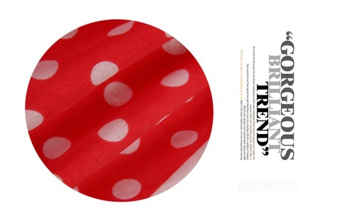 Red Polyester Scarf with dot design for girls