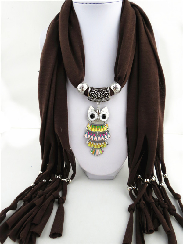 1 1 Colorful Owl design pendant scarf for women