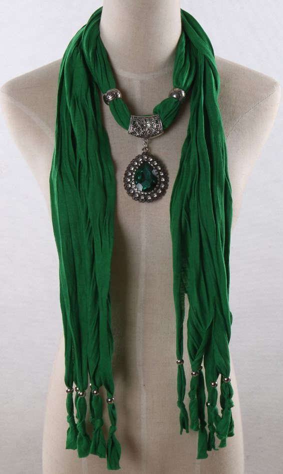Green Scarf with Green Stone Pendant attached
