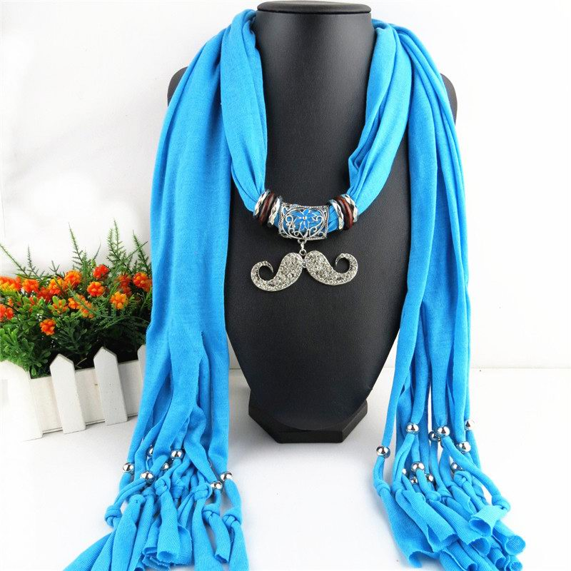 1 1 Mustache Design Pendant Scarf For Lady