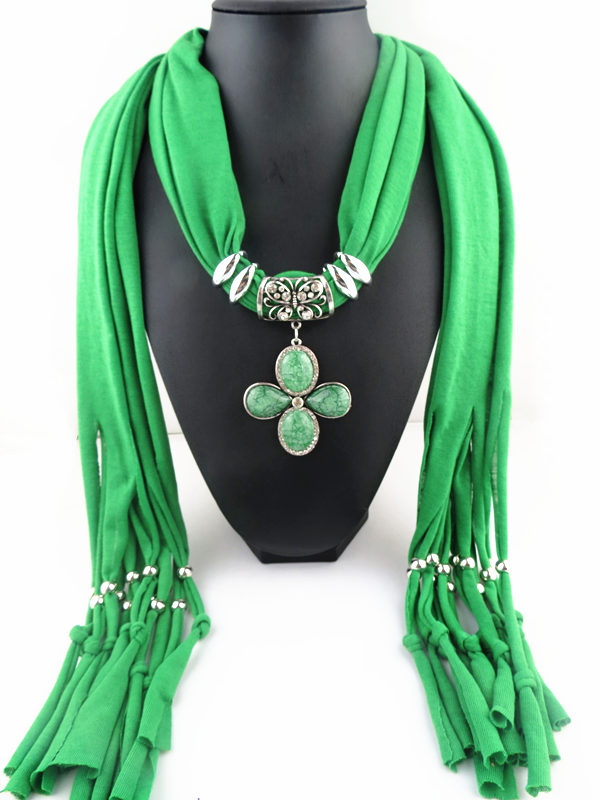 009 Cross Flower Pendant Scarf For Lady - Click Image to Close