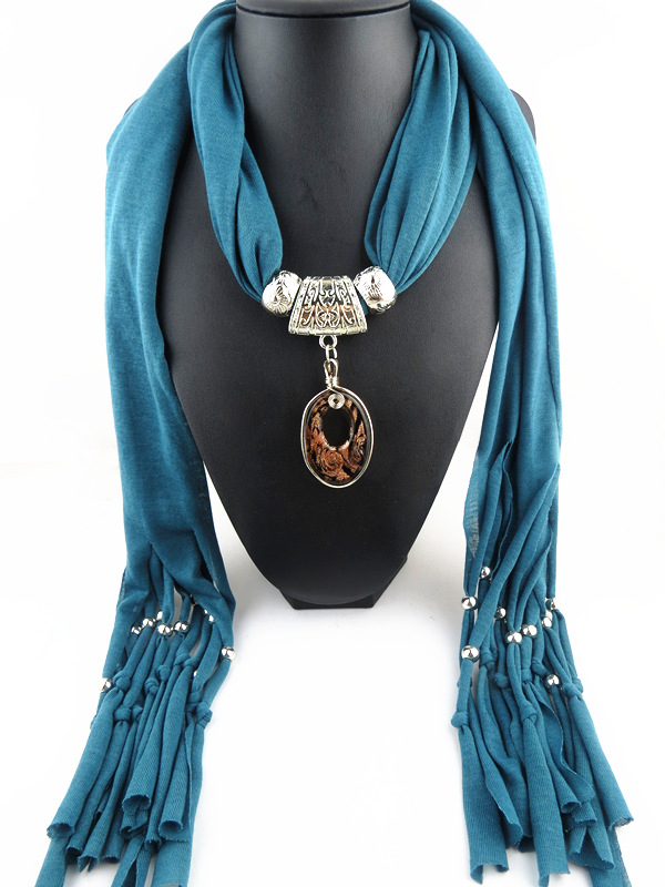 001 Small Oval Shaped Pendant Scarf On sale
