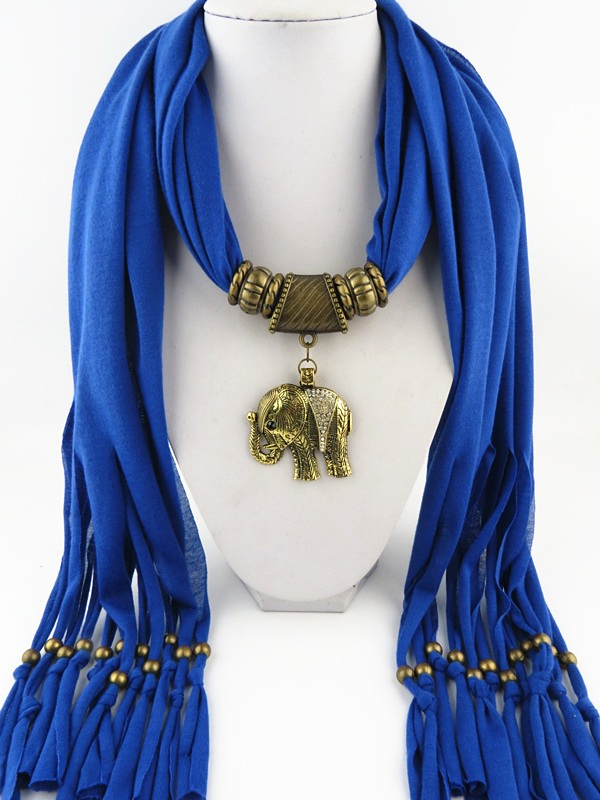 002 Jewelry Scarf With Elephant pendants attached