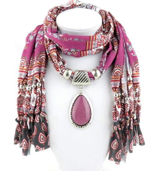 001 2017 Purple Scarf with pendant attached