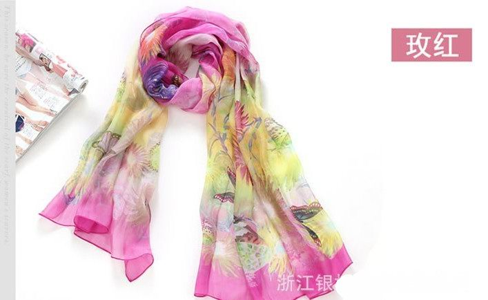 Wholesale Ladies' fashion Silk Scarf with butterfly and flower d