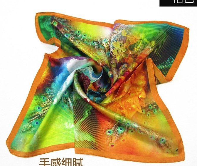 100% pure square silk Scarf with bright color wholesale