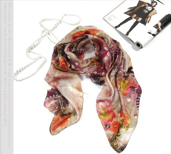 2013 Autumn and winter 100% Pure Silk scarf with flower digital