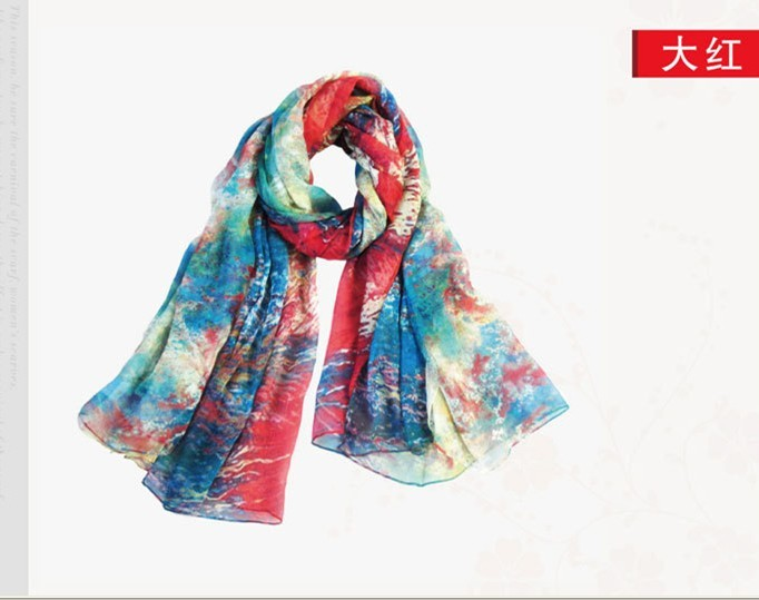 2013 newest printing fashion smocking silk shawl wholesale