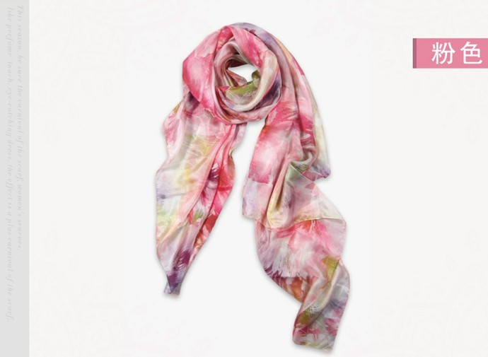Fashionable wholesale silk scarf with lightweight Screen Printed
