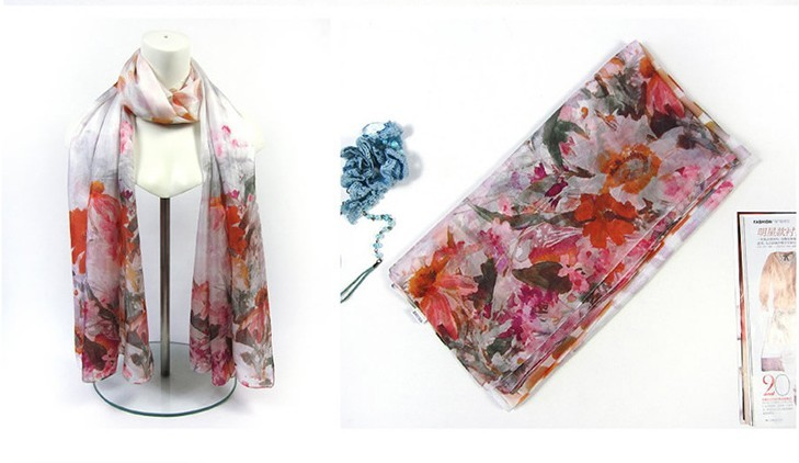 Digital print with flower design for 100 silk scarf