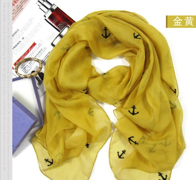100% Natrual Silk scarf with fashion anchor print