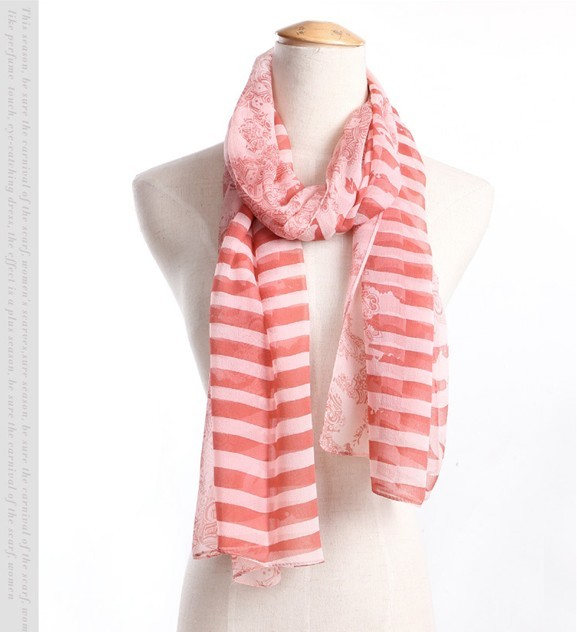 2013 Pretty Pink white STRIPED LADIES LARGE SIlk SCARF wholesale