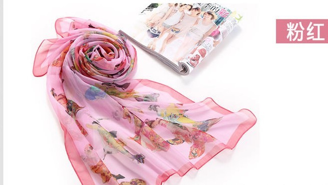 100% Natrual Silk scarf with chinese style