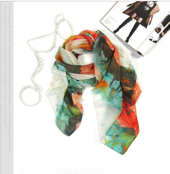 100% Mulberry silk hand painted scarf wholesale
